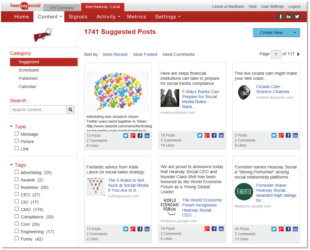 Hearsay Social content library